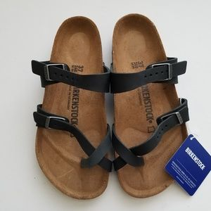 Birkenstock Mayari Black Oiled Leather Sandals 37